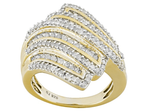 Photo of Pre-Owned Engild™ 1.20ctw Round White Diamond 14k Yellow Gold Over Sterling Silver Bypass Ring - Size 5