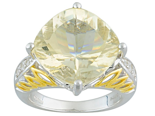 Photo of Pre-Owned 8.27ct Square Cushion Yellow Labradorite And .20ctw Round White Zircon Two-Tone Sterling S - Size 7