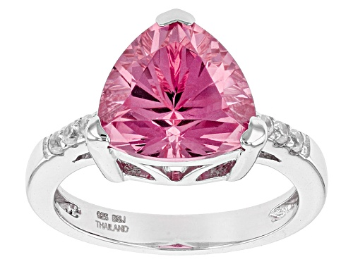 Photo of Pre-Owned 4.40ct Trillion Lab Created Pink Yag With .11ctw Round White Zircon Sterling Silver Ring - Size 6