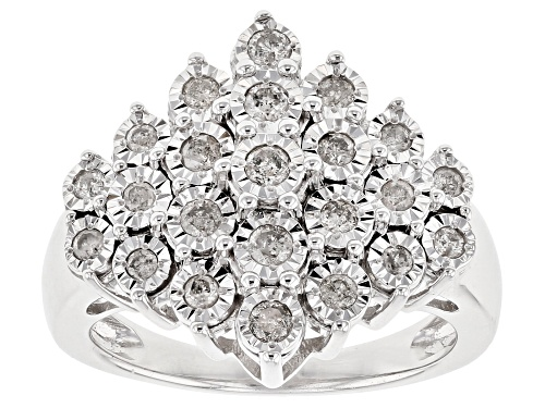 Photo of Pre-Owned Monture Diamond Collection™ .50ctw Round Whtie Diamond Rhodium Over Sterling Silver Rin - Size 8