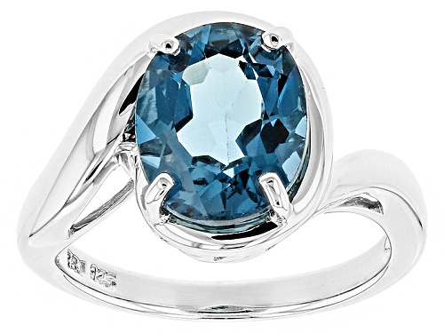 Photo of Pre-Owned 3.85ct Oval London Blue Topaz Sterling Silver Solitaire Ring - Size 9