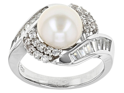 Photo of Pre-Owned 9-9.5mm Cultured Freshwater Pearl & 1.43ctw Round & Baguette White Zircon Rhodium Over Sil - Size 4