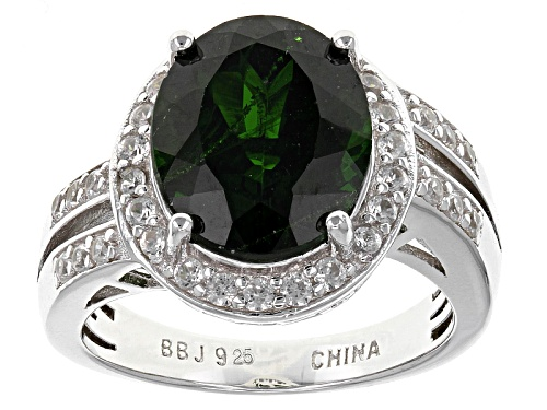Photo of Pre-Owned 4.59ct Oval Russian Chrome Diopside With .65ctw Round White Zircon Sterling Silver Ring - Size 4