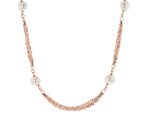 Photo of Emulous™ 11-12mm White Cultured Freshwater Pearl 18k Rose Gold Over Bronze Station Necklace - Size 35