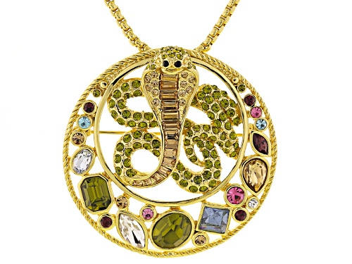 Photo of Pre-Owned Off Park ® Collection Multicolor Crystal Gold Tone Snake Pin Pendant With Chain