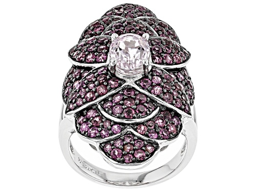 Photo of Pre-Owned 1.45CT OVAL KUNZITE WITH 2.25CTW ROUND RASPBERRY RHODOLITE RHODIUM OVER STERLING SILVER RI - Size 7
