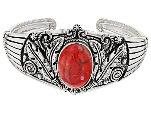 Photo of Pre-Owned Red Coral Sterling Silver Bracelet - Size 8