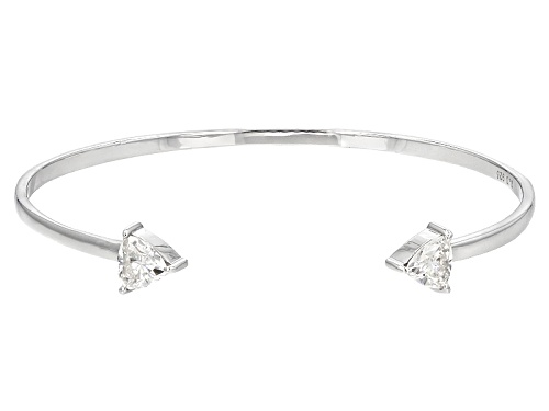 Photo of Pre-Owned Moissanite Fire® 1.60ctw Dew Trillion Cut Platineve™  Open Bangle Bracelet
