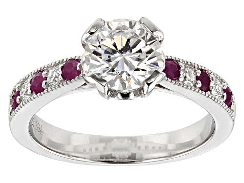 Photo of Pre-Owned Moissanite Fire® 1.32ctw Dew Round With .36ctw Round Ruby Platineve™ Ring - Size 7