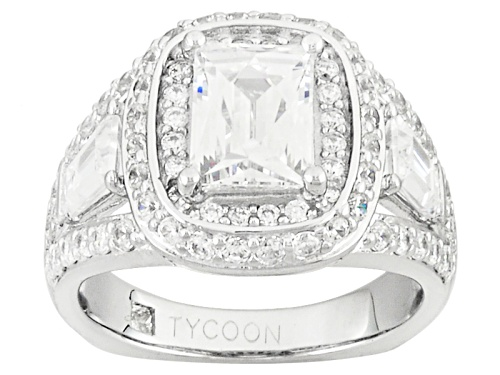 Photo of Pre-Owned Tycoon For Bella Luce® 5.24ctw Baguette & Round Platineve® Ring (3.28ctw Dew) - Size 10