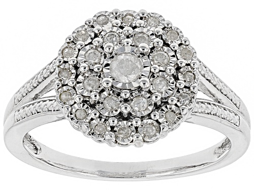 Photo of Pre-Owned 0.25ctw Round White Diamond Rhodium Over Sterling Silver Ring - Size 7