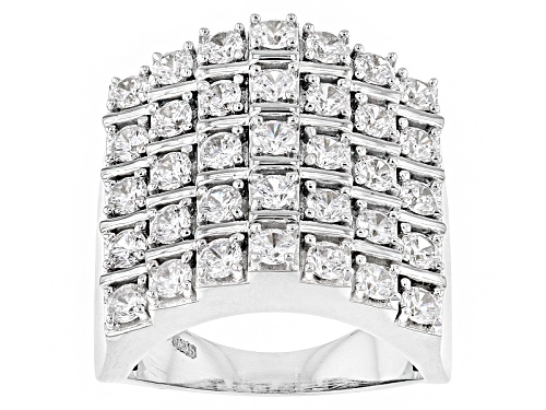 Photo of Pre-Owned Bella Luce ® 4.10ctw Diamond Simulant Round Rhodium Over Sterling Silver Ring (2.10ctw Dew - Size 5