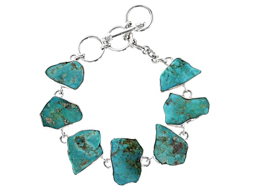 Photo of Pre-Owned Artisan Collection Of India™ Free Form Tumbled Tibetan Turquoise Sterling Silver Bracelet - Size 7.5