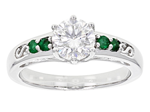 Photo of Pre-Owned Moissanite Fire® 1.00ctw Dew Round With .16ctw Round Zambian Emerald Platineve™ Ring - Size 7