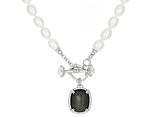 Photo of Pre-Owned 6.5-9mm Cultured Freshwater Pearl & Topaz, & Pyrite Doublet, rhodium over silver Strand Ne - Size 18