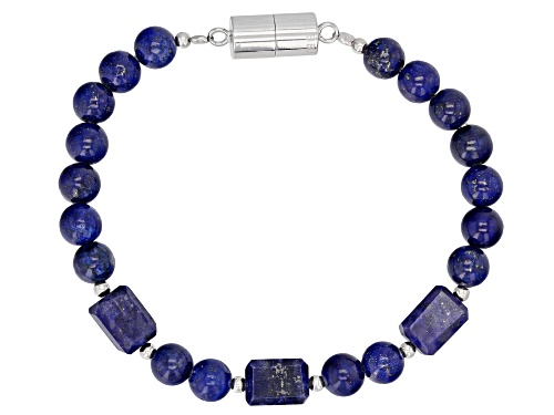 Photo of Pre-Owned MIXED SHAPES LAPIS LAZULI RHODIUM OVER STERLING SILVER BRACELET - Size 7.25