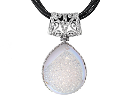 Photo of Pre-Owned Pear Shape White Drusy Sterling Silver Pendant With Triple Strand Leather Cord
