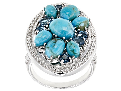Photo of Pre-Owned Turquoise & .83ctw London Blue Topaz & 4 Diamond Accent Rhodium Over Sterling Silver Ring - Size 7