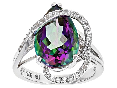 Photo of Pre-Owned 5.68ct Pear Shape Mystic Fire(R) Green Topaz & .53ctw White Topaz Rhodium Over Silver Cros - Size 7