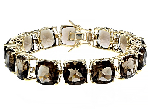 Photo of Pre-Owned 85.00CTW CUSHION SMOKY QUARTZ 18K YELLOW GOLD OVER STERLING SILVER BRACELET - Size 7.25