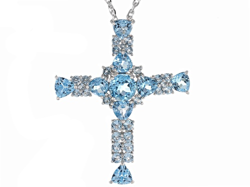 Photo of Pre-Owned 11.22ctw Round & Trillion Swiss Blue Topaz Rhodium Over Silver Cross Pendant With Chain