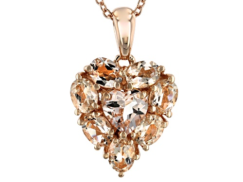Photo of Pre-Owned 1.18ctw Mixed Shape Morganite 18k Rose Gold Over Sterling Silver Heart Pendant with Chain