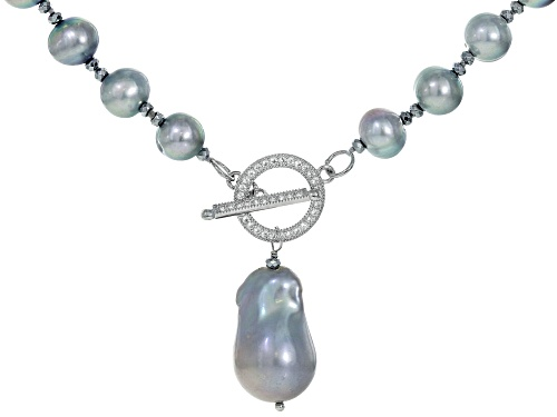 Photo of Pre-Owned Silver Cultured Freshwater Pearl, Hematine & Bella Luce(TM) Rhodium Over Silver 28 Inch Ne - Size 28