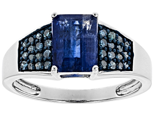 Photo of Pre-Owned 1.77ct Emerald Cut Kyanite With .20ctw Round Blue Diamonds Rhodium Over Silver Ring - Size 7
