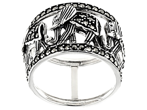 Photo of Pre-Owned Round Marcasite Sterling Silver Elephant Band Ring - Size 7