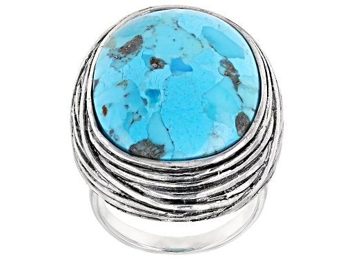 Photo of Pre-Owned Southwest Style by JTV™ Oval Turquoise Sterling Silver Ring - Size 7
