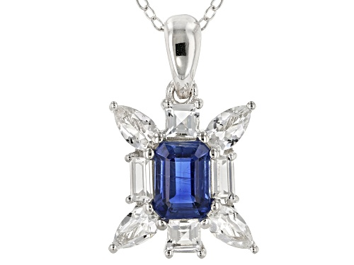 Photo of Pre-Owned 1.02ct Emerald Cut Kyanite & 1.35ctw Mixed White Topaz Rhodium Over Silver Pendant with Ch
