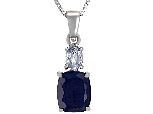 Photo of Pre-Owned 3.40ct Cushion Blue Sapphire & .46ct Oval White Sapphire Rhodium Over Silver Pendant with