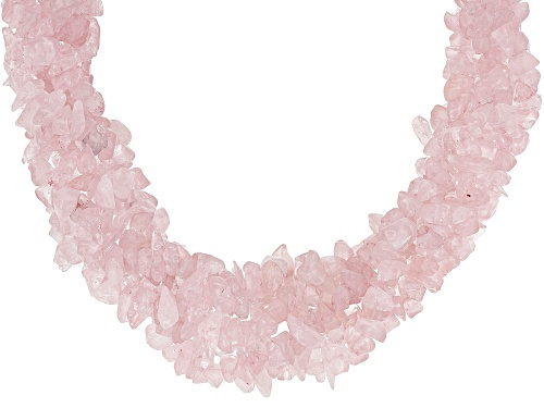 Photo of Pre-Owned Mixed Free-form Rose Quartz Rhodium Over Sterling Silver 5-Strand Torsade Necklace - Size 20