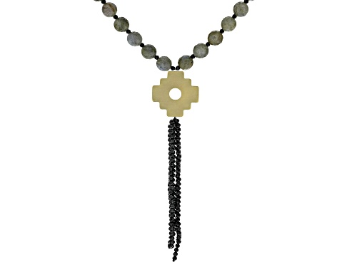 Photo of Pre-Owned Artisan Collection Of Peru™ Labradorite Bead & Black Spinel Tassel 10k Gold Chakana Cross - Size 24