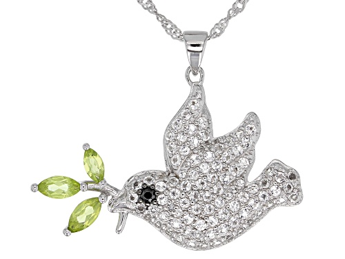 Pre-Owned 2.03ctw White Topaz, Manchurian Peridot(TM) & Spinel Rhodium Over Silver Dove Pendant W/ C