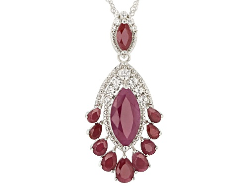 Photo of Pre-Owned 8.11ctw Mixed Shape Indian Ruby With .75ctw Zircon Rhodium Over Silver Enhancer W/ Chain