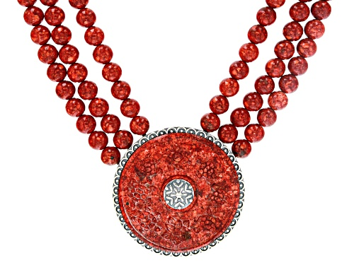 Photo of Pre-Owned Southwest Style By JTV™ Coral Enhancer/Pendant & Convertible 3-Strand Bead Necklace/Bracel