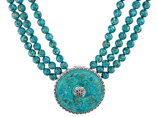 Photo of Pre-Owned Southwest Style By JTV™ Turquoise Enhancer/Pendant & Convertible 3-Strand Bead Necklace/Br