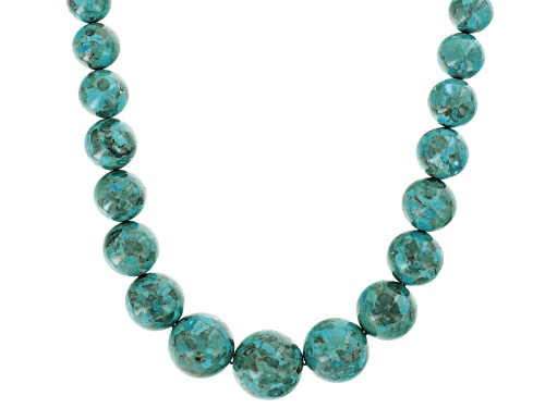 Photo of Pre-Owned Southwest Style by JTV™ graduated 12 - 30mm round turquoise bead woven nylon cord necklace - Size 32