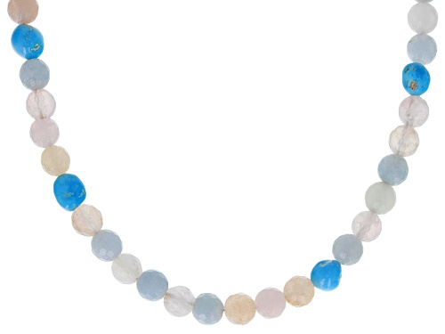 Photo of Pre-Owned Tehya Oyama Turquoise™ 5-6mm Turquoise & 6mm Round Rose Quartz Silver Necklace - Size 18