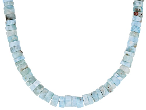 Photo of Pre-Owned Graduated 6-7mm Round Larimar Heshi Bead Sterling Silver Necklace - Size 18