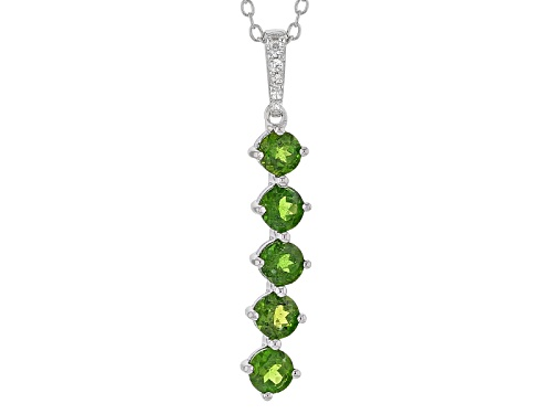 Photo of Pre-Owned 1.38ct Round Russian Chrome Diopside With .05ctw Round White Zircon Silver Pendant With Ch
