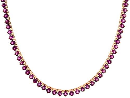 Photo of Pre-Owned 29.75ctw Round Raspberry Color Rhodolite 18k Rose Gold Over Sterling Silver Tennis Necklac - Size 18