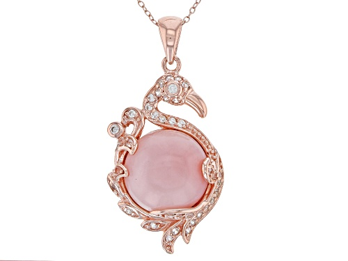 Pre-Owned 16MM PERUVIAN PINK OPAL WITH .71CTW WHITE ZIRCON 18K ROSE OVER SILVER FLAMINGO PENDANT WIT