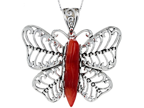 Pre-Owned Pacific Style™ 30x8.5mm Free-Form Red Coral Rhodium Over Silver Butterfly Pendant With Cha