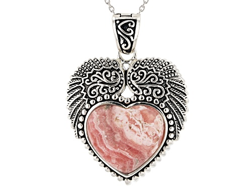 Photo of Pre-Owned Southwest Style By JTV™ 20x18mm Heart Shape Rhodochrosite Silver Pendant/Enhancer With Cha