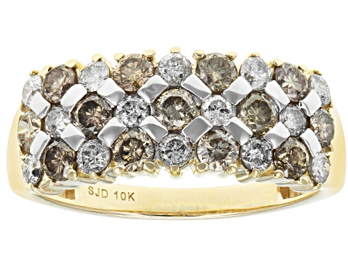 Photo of Pre-Owned 1.25ctw Round Champagne And White Diamond 10k Yellow Gold Ring - Size 8