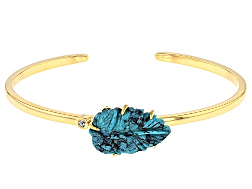 Photo of Pre-Owned Tehya Oyama Turquoise™  Kingman Turquoise Leaf & .16ct White Topaz 18K Gold Over Silver Cu - Size 7.5