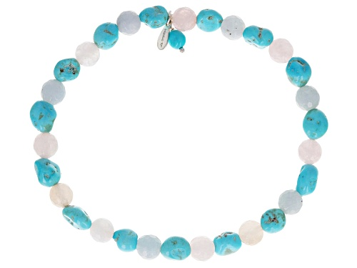 Photo of Pre-Owned Tehya Oyama Turquoise™ 5-6mm Turquoise & 6mm Rose Quartz Silver Stretch Bracelet