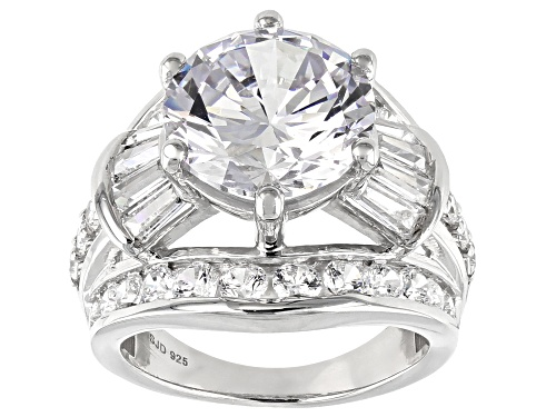 Photo of Pre-Owned Bella Luce ® 16.44ctw White Diamond Simulant Rhodium Over Sterling Silver Ring (9.74ctw DE - Size 5